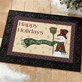Let It Snow Snowman Personalized Recycled Rubber Back Doormat - 7643