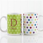 Personalized Polka Dot Coffee Mug 15 oz.- White - 7799-L