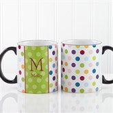 Personalized Polka Dot Coffee Mug 11oz.- Black - 7799-B