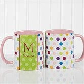 Personalized Polka Dot Coffee Mug 11oz.- Pink - 7799-P