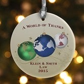 A World Of Thanks Personalized Ornament