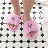 Embroidered Pink Velour Spa Slippers - 7898