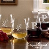 Luigi Bormioli® Engraved Initial Stemless Wine Glass Set - 7943N