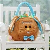 Embroidered Easter Bunny Basket - Blue - 7974-B