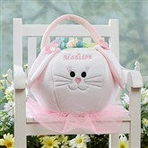 Embroidered Easter Bunny Basket - Pink - 7974-P
