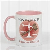 Coffee & Counsel Personalized Coffee Mug 11 oz.- Pink - 8009-P