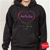 All Our Hearts Personalized Black Hooded Sweatshirt - 8218BS