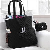 Embroidered Quilted Tote & Makeup Bag Set - 8250-S