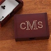Personalized Rosewood Playing Card Box-Monogram - 8308-M