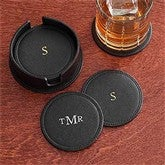 Executive Office Personalized Leather Coasters-Set of 6 - 8740