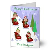 Sledding Family Characters Christmas Cards - 8777