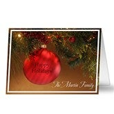 Red Ornament Personalized Christmas Cards - 8883