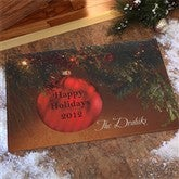 Red Ornament Personalized Doormat - 8885