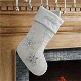 Season's Sparkle Embroidered Stocking- White - 9139-W