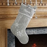 Season's Sparkle Embroidered Stocking- Silver - 9139-S