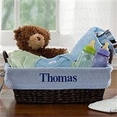Welcome Baby Embroidered Gift Basket- Blue - 9146-B