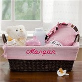 Welcome Baby Embroidered Gift Basket- Pink - 9146-P