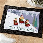 Sledding Family Characters Personalized Recycled Rubber Back Doormat - 9184