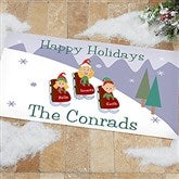 Sledding Family Characters Personalized Oversized Doormat - 9184-O