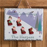 Sledding Family Characters Slate Plaque - 9185