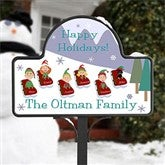 Sledding Family Characters Personalized Magnetic Garden Sign - 9187-M
