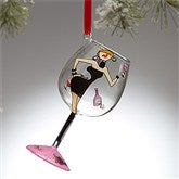 Wine Diva Brunette Mini Wine Glass Ornament - 9197-BR