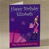 Birthday Girl Vertical Personalized Greeting Card - 9203