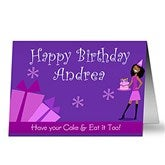 Birthday Girl Horizontal Personalized Greeting Card - 9203-H