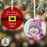 2-Sided Dear Santa Personalized Photo Ornament - 9231-2
