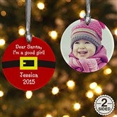 2-Sided Dear Santa Personalized Photo Ornament - 9231-2