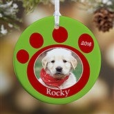 1 Sided Pawprint On Our Hearts Personalized Pet Ornament - 9278-1