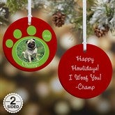 2 Sided Pawprint On Our Hearts Photo Pet Ornament- Small - 9278-2
