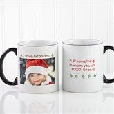 Christmas Photo Wishes Personalized Black Handle Mug- 11oz. - 9426-B