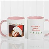 Christmas Photo Wishes Personalized Coffee Mug 11oz.- Pink - 9426-P