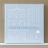 Baby Love Birth Info Personalized Canvas Art- Baby Blue - 9545-B