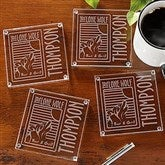 Personalized Corporate Engraved Logo Glass Coaster Set with Mahogany Base - 9561-B