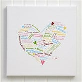 Our Heart of Love Personalized Canvas Print 24