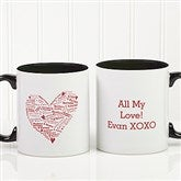 Heart of Love Personalized Coffee Mug- 11oz.- Black - 9585-B