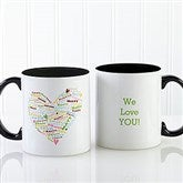Heart of Love Personalized Coffee Mug- 11oz.- Black - 9585-B