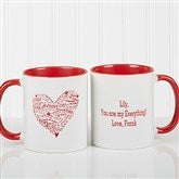 Heart of Love Personalized Coffee Mug- 11oz.- Red - 9585-R