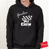 Pit Crew Personalized Adult Black Hooded Sweatshirt - 9587S