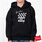 Pit Crew Youth Black Hooded Sweatshirt - 9587YS