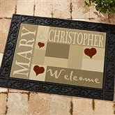 Loving Hearts Personalized Recycled Rubber Back Doormat - 9595
