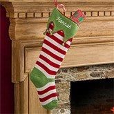 Embroidered Knit Stocking-Green Toe & Cuff - 9785-GG