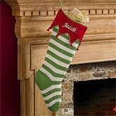 Embroidered Knit Stocking-Red Cuff & Green Stripes - 9785-RG