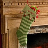Embroidered Knit Stocking-Green Cuff & Green Stripes - 9785-G