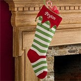 Embroidered Knit Stocking-Red Toe & Cuff - 9785-RR