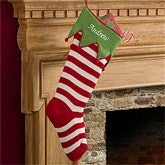 Embroidered Knit Stocking-Green Cuff & Red Stripes - 9785-GR