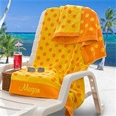 Embroidered Yellow/Orange Polka Dot Towel - 9789-Y