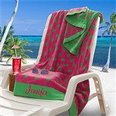 Embroidered Pink/Lime Polka Dot Towel - 9789-L